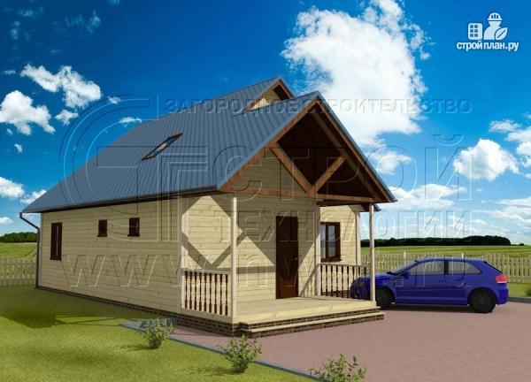 Фото 2: проект загородный дом 8x10 м с террасой и мансардой
