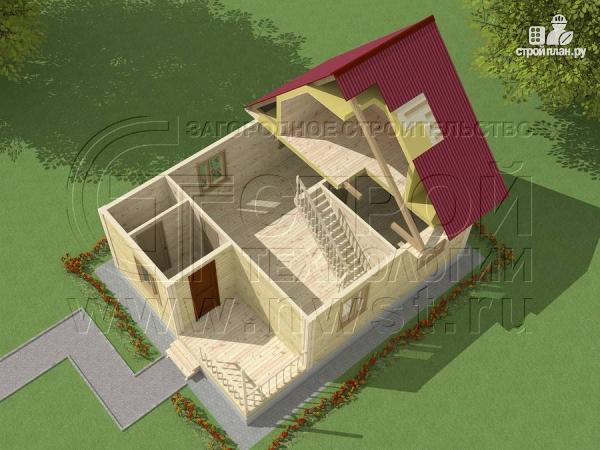 Фото 4: проект загородный дом 8x6 мс мансардойи лоджией