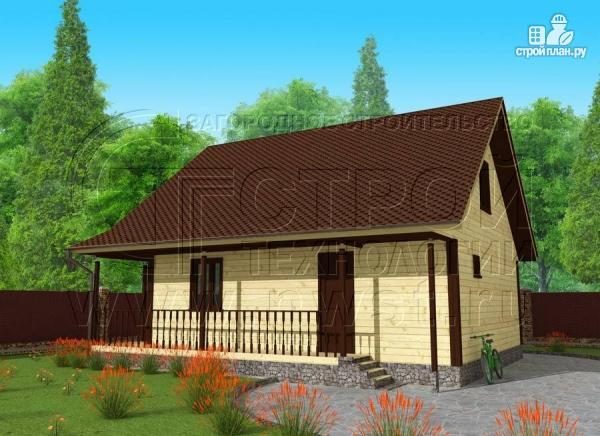 Фото: проект дачный дом 7x9 мс мансардой и террасой 16,5 м2