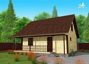 Проект дачный дом 7x9 мс мансардой и террасой 16,5 м2