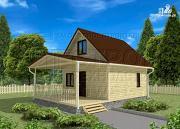 Проект дачный дом 6x6 мс мансардой и террасой 18 м2