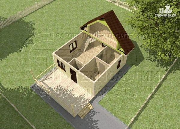 Фото 4: проект дачный дом 6x6 мс мансардой и террасой 18 м2