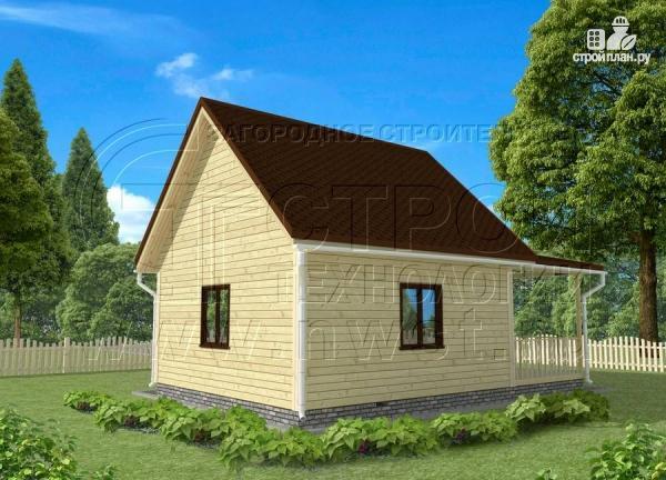 Фото 2: проект дачный дом 6x6 мс мансардой и террасой 18 м2