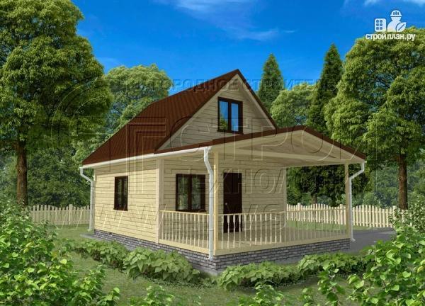 Фото 3: проект дачный дом 6x6 мс мансардой и террасой 18 м2