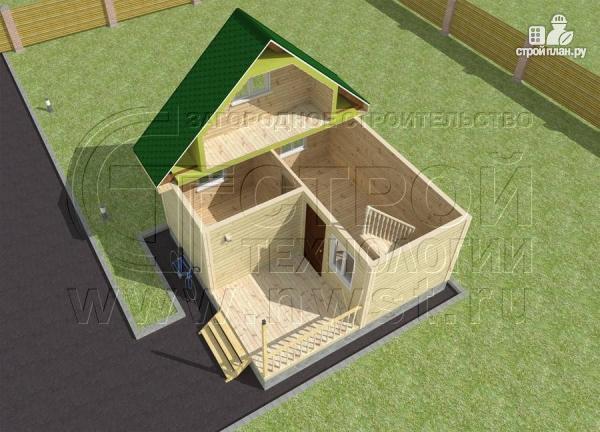 Фото 4: проект дачный дом 6x6 мс мансардой и террасой