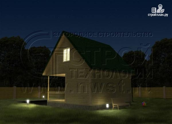 Фото 3: проект дачный дом 6x6 мс мансардой и террасой