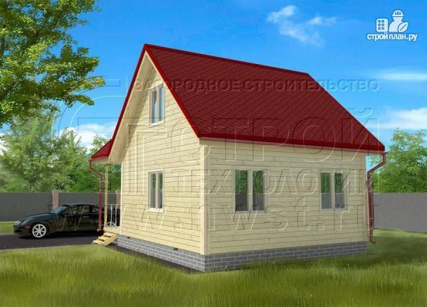 Фото 2: проект дачный дом 6х6 мс мансардой и верандой
