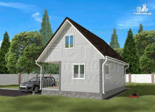 Фото 2: проект дом 6x6 мс мансардой и террасой