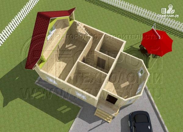 Фото 4: проект загородный дом 6x6 мс многощипцовой крышей и верандой в эркере