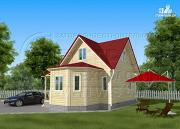 Проект загородный дом 6x6 мс многощипцовой крышей и верандой в эркере