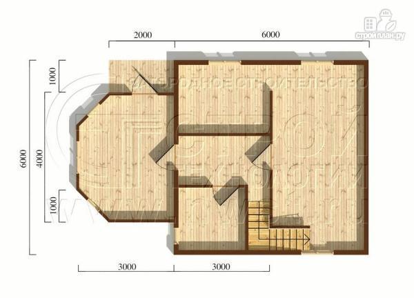 Фото 5: проект загородный дом 6x6 мс многощипцовой крышей и верандой в эркере