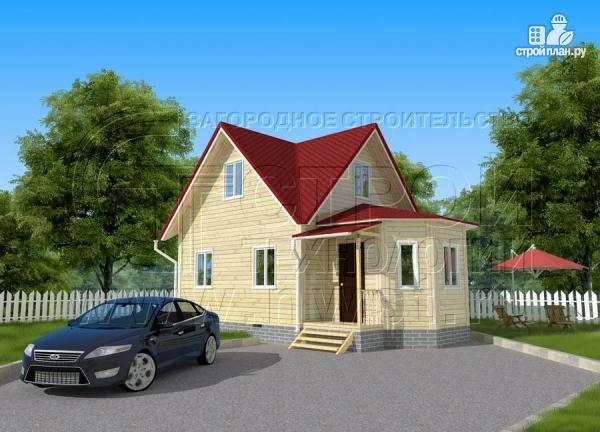 Фото 2: проект загородный дом 6x6 мс многощипцовой крышей и верандой в эркере