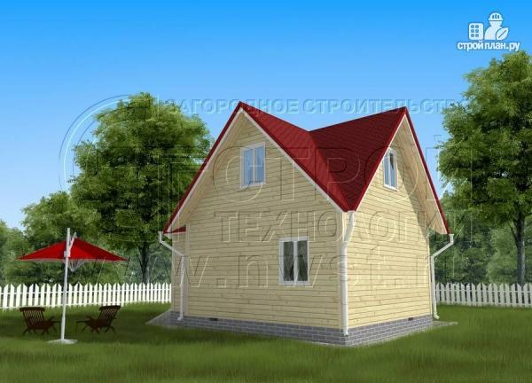 Фото 3: проект загородный дом 6x6 мс многощипцовой крышей и верандой в эркере