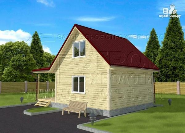 Фото 2: проект дом 6х6 м с мансардой, верандой 9 м2и террасой 9 м2