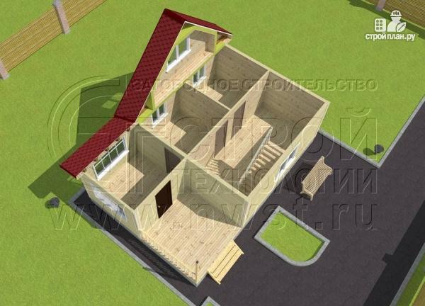 Фото 4: проект дом 6х6 м с мансардой, верандой 9 м2и террасой 9 м2