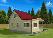 Фото: дом 6х6 м с мансардой, верандой 9 м2и террасой 9 м2