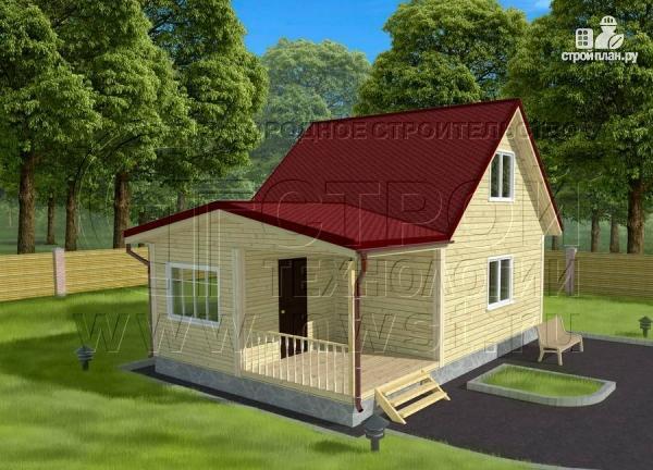 Фото 3: проект дом 6х6 м с мансардой, верандой 9 м2и террасой 9 м2