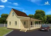 Фото: дачный дом 6х6 м с мансардой, большой верандой и широкой террасой