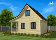 Проект дачный дом 6х5 из бруса с террасой