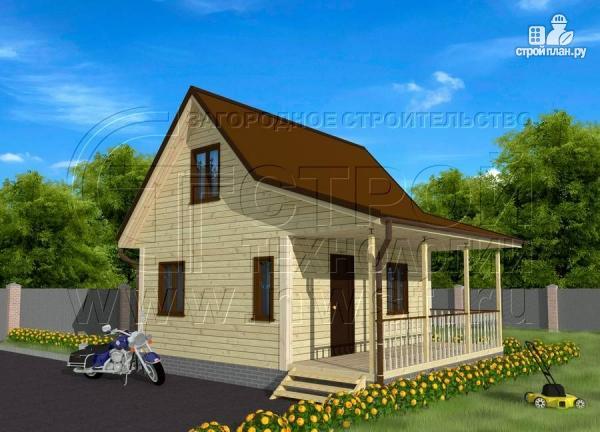 Фото 2: проект дачный дом 6х5 из бруса с террасой
