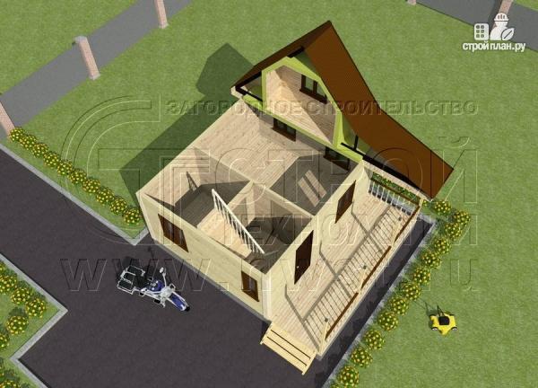Фото 4: проект дачный дом 6х5 из бруса с террасой