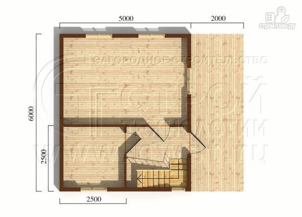 Фото 5: проект дачный дом 6х5 из бруса с террасой