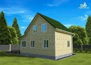 Проект дачный дом 6х6 м в полтора этажа с террасой