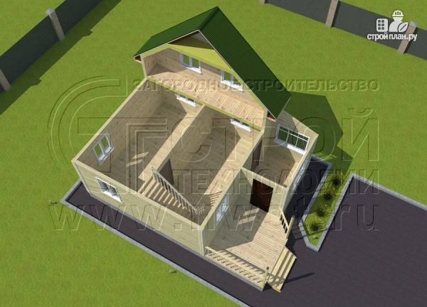 Фото 4: проект дачный дом 6х6 м в полтора этажа с террасой