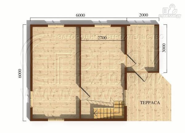 Фото 5: проект дачный дом 6х6 м в полтора этажа с террасой