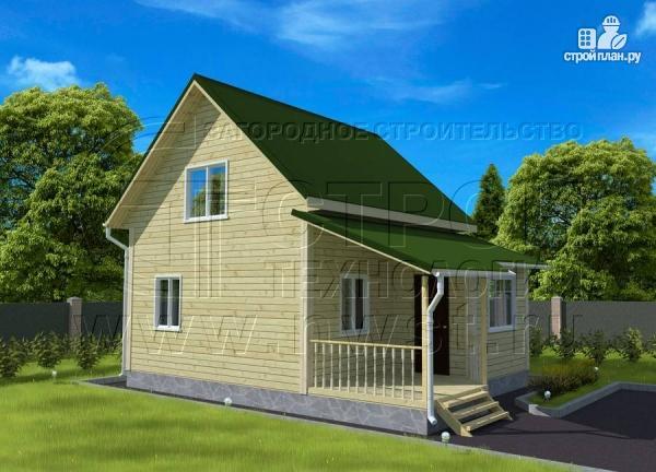 Фото 3: проект дачный дом 6х6 м в полтора этажа с террасой