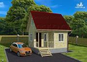 Фото: небольшой дачный домик 4x5 мсмансардой