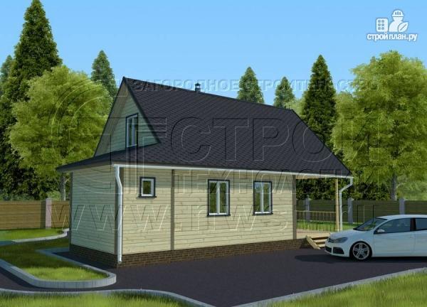 Фото 2: проект дачный дом 6х8 м с террасой и лоджией в мансарде