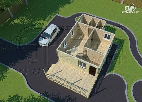 Фото 4: проект дачный дом 6х8 м с террасой и лоджией в мансарде