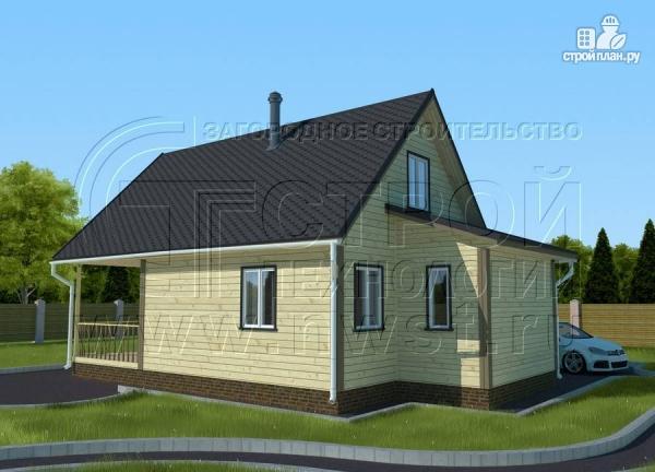 Фото 3: проект дачный дом 6х8 м с террасой и лоджией в мансарде