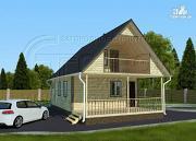 Фото: дачный дом 6х8 м с террасой и лоджией в мансарде