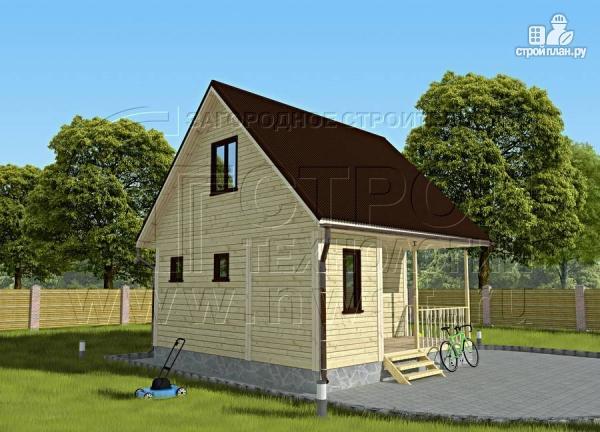 Фото 3: проект дачный дом 6х4 м с мансардой и террасой
