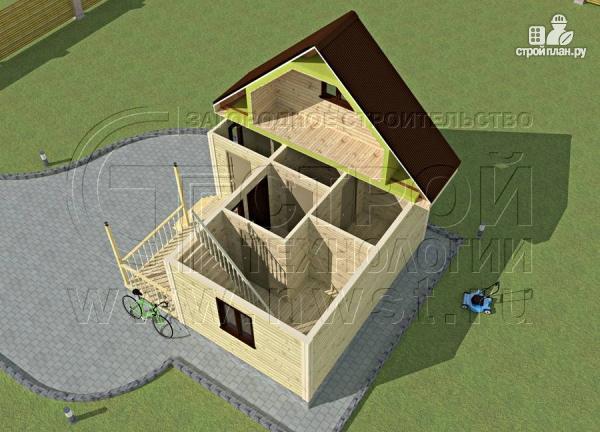 Фото 4: проект дачный дом 6х4 м с мансардой и террасой