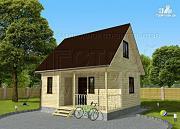 Проект дачный дом 6х4 м с мансардой и террасой