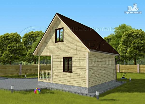 Фото 2: проект дачный дом 6х4 м с мансардой и террасой