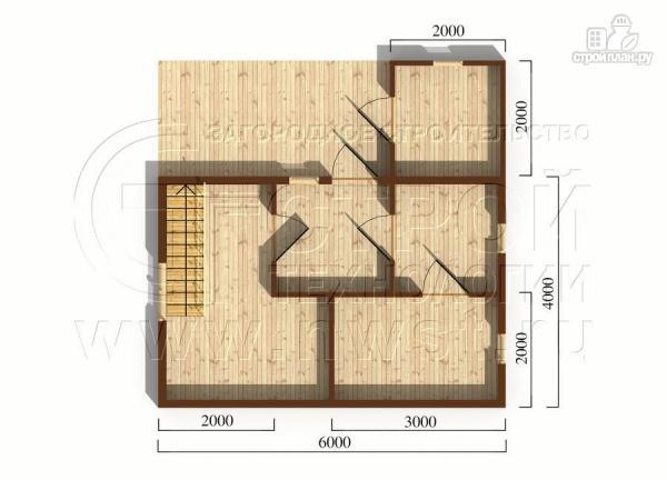 Фото 5: проект дачный дом 6х4 м с мансардой и террасой