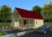 Проект дачный дом 6х6 м с мансардным этажоми террасой 20 м2