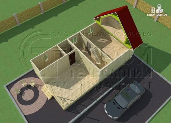 Фото 4: проект дачный дом 6х6 м с мансардным этажоми террасой 20 м2