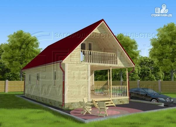 Фото 2: проект дачный дом 6х6 м с мансардным этажоми террасой 20 м2