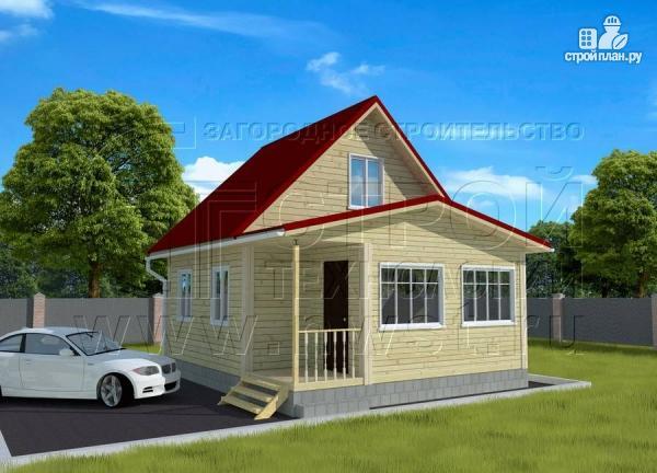 Фото: проект дачный дом 6х7 м с мансардой, верандой и крыльцом