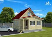 Проект дачный дом 6х7 м с мансардой, верандой и крыльцом