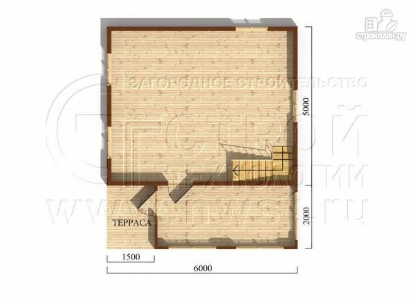 Фото 5: проект дачный дом 6х7 м с мансардой, верандой и крыльцом