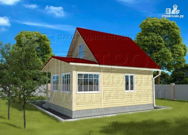 Фото 2: проект дачный дом 6х7 м с мансардой, верандой и крыльцом