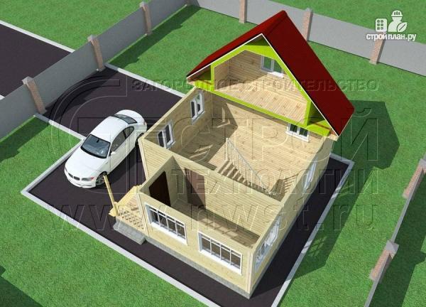 Фото 4: проект дачный дом 6х7 м с мансардой, верандой и крыльцом