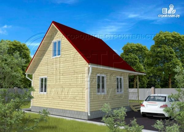 Фото 3: проект дачный дом 6х7 м с мансардой, верандой и крыльцом