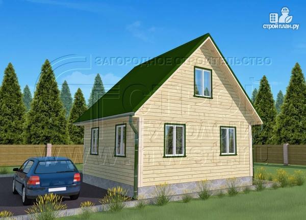 Фото 2: проект дачный дом 6х6 м из бруса с террасой